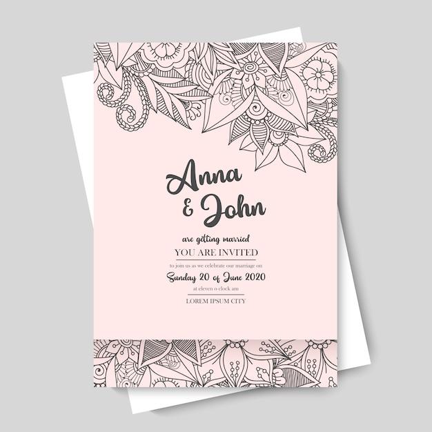 Blumenhochzeitsschablone - rosa blumengrenze Kostenlosen Vektoren