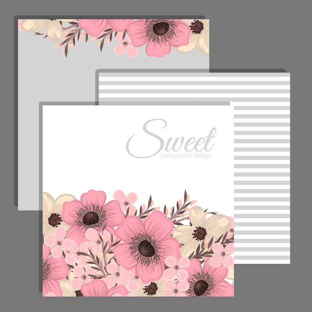 Blumenhochzeitsschablone - rosa blumenkarte Kostenlosen Vektoren