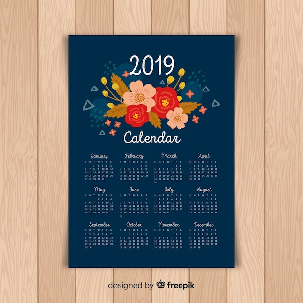 Blumenkalender 2019 Kostenlosen Vektoren