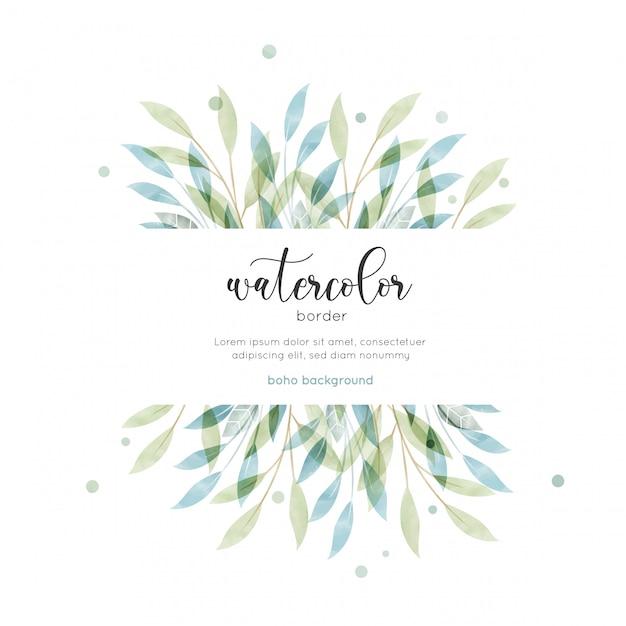 Blumenkarte der böhmischen art des aquarells Premium Vektoren