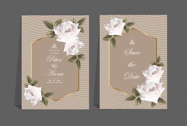 Blumenkarte für einladungshochzeits- und -grußkarten Premium Vektoren