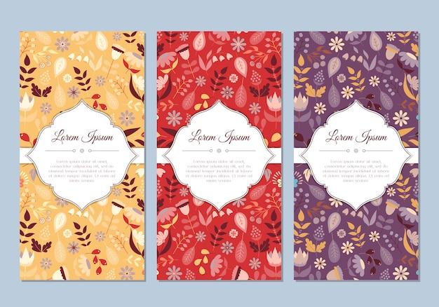 Blumenkarten des niedlichen vintagen gekritzels eingestellt für speziellen feiertag. grußkarte oder save the date mit bunten blumen. vektor-illustration Premium Vektoren