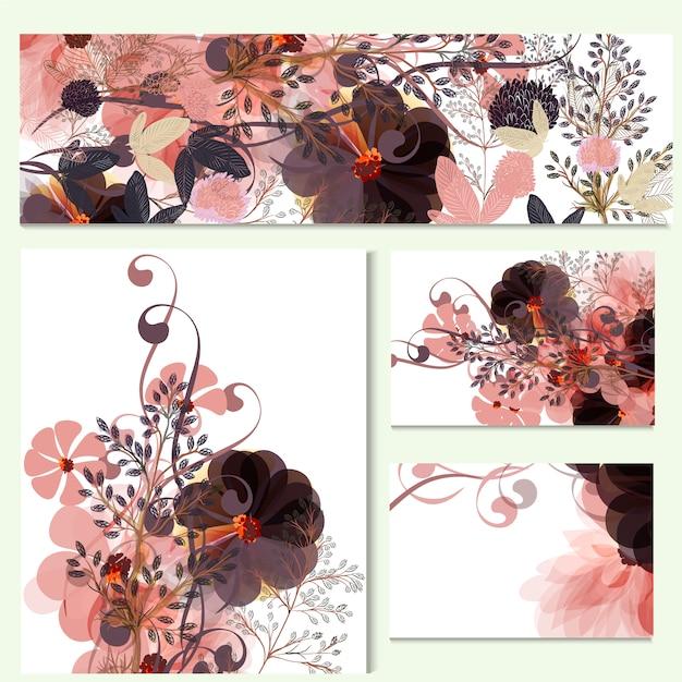 Blumenkarten sammlung Premium Vektoren