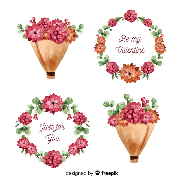 Blumenkränze u. blumensträuße des aquarellvalentins tages Kostenlosen Vektoren
