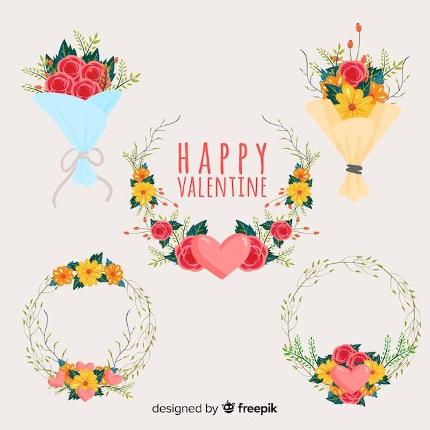 Blumenkränze und -sträuße zum valentinstag Kostenlosen Vektoren