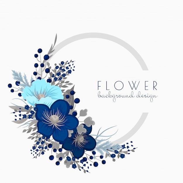 Blumenkranz, der blauen kreisrahmen mit blumen zeichnet Kostenlosen Vektoren