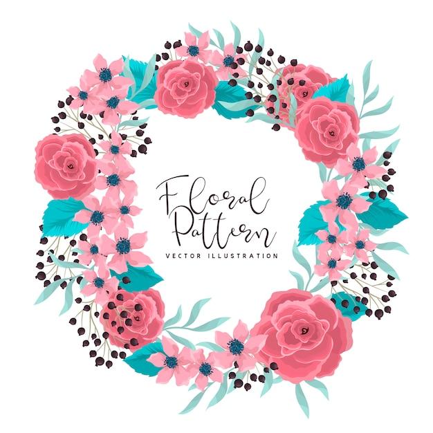 Blumenkranz, der rosa rosenrahmen mit blumen zeichnet Kostenlosen Vektoren