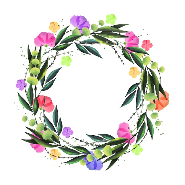 Blumenkranz im aquarell-stil Kostenlosen Vektoren