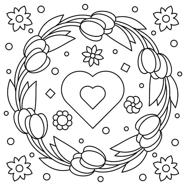 Blumenkranz Malvorlage Vektor Illustration Download Der