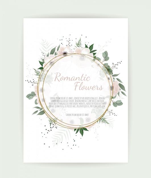 Blumenkranz mit grünen eukalyptusblättern, blumenrose, anemone Premium Vektoren