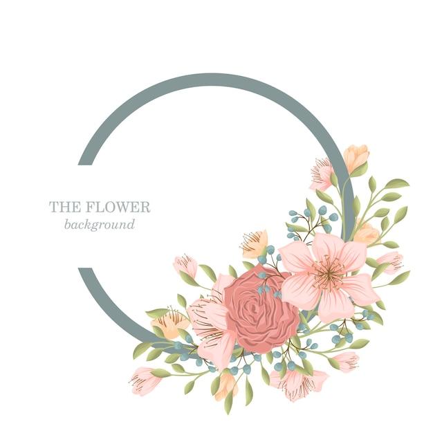 Blumenkranz mit süßen blumen Kostenlosen Vektoren