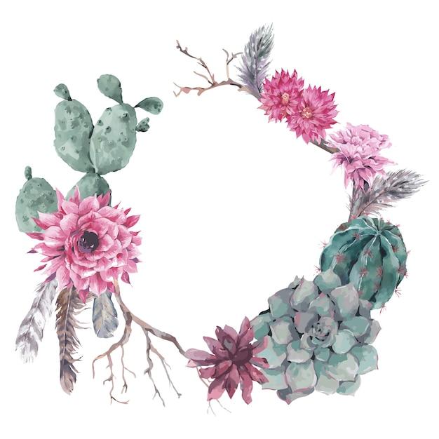 Blumenkranz mit zweigen und saftig Premium Vektoren