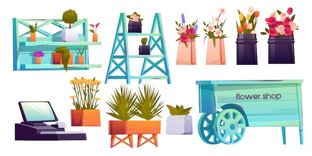 Blumenladen-elementsatz Kostenlosen Vektoren