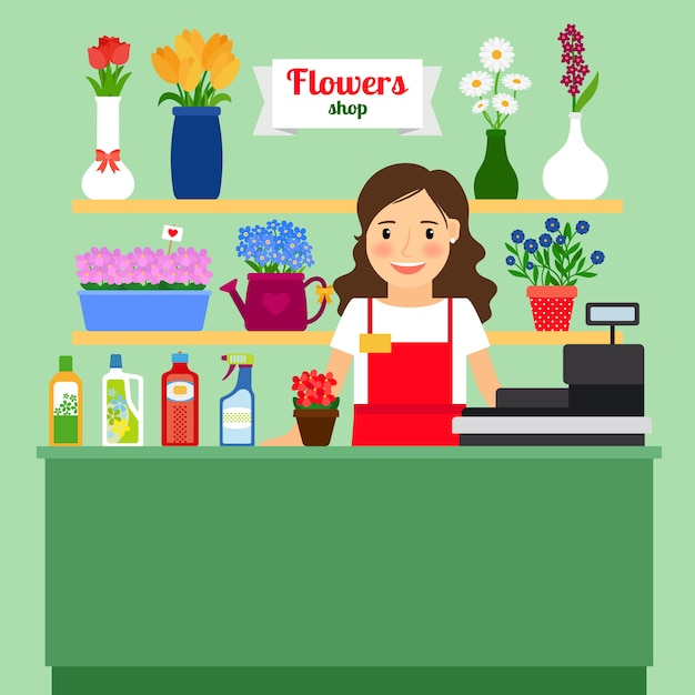 Blumenladenvektorillustration mit verkaufsdame-registrierkassenmaschine und verschiedenen blumen in den töpfen Premium Vektoren