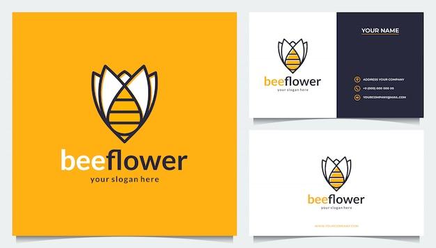 Blumenlogo-design mit einer kombination aus bienen und visitenkarten Premium Vektoren