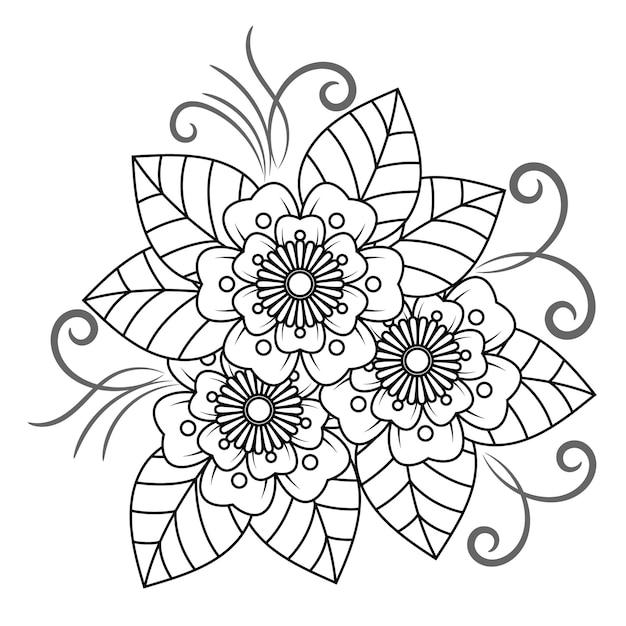 Blumenmandala für erwachsene, die malbuch sich entspannen. Premium Vektoren