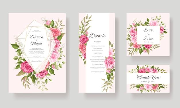 Blumenmuster der schönen hochzeitskartenschablone Premium Vektoren