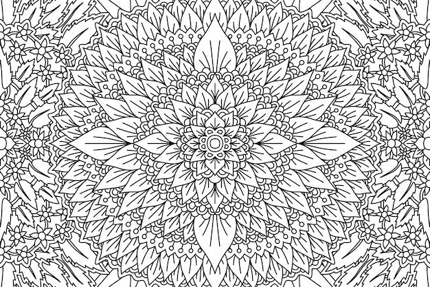 Blumenmuster für malbuchseite mit laub Premium Vektoren
