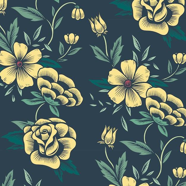 Blumenmuster hintergrund Kostenlosen Vektoren