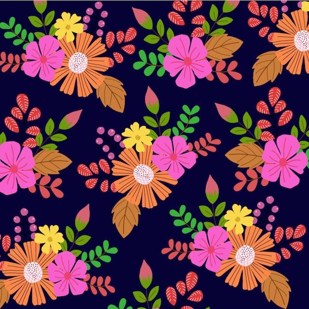 Blumenmuster hintergrund Premium Vektoren