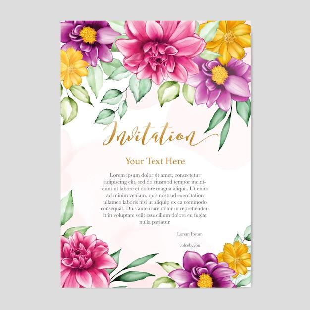 Blumenmuster hochzeitseinladungskarte Premium Vektoren