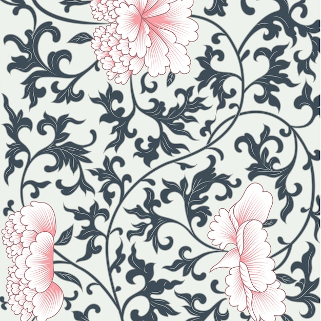 Blumenmuster im chinesischen stil Premium Vektoren