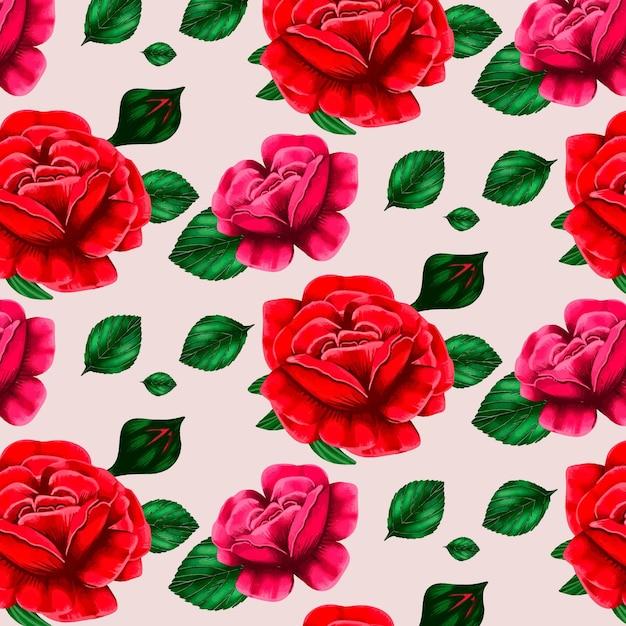 Blumenmuster mit schönen rosen Kostenlosen Vektoren