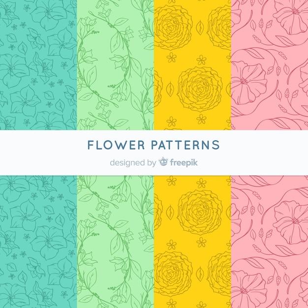 Blumenmuster-sammlung Kostenlosen Vektoren