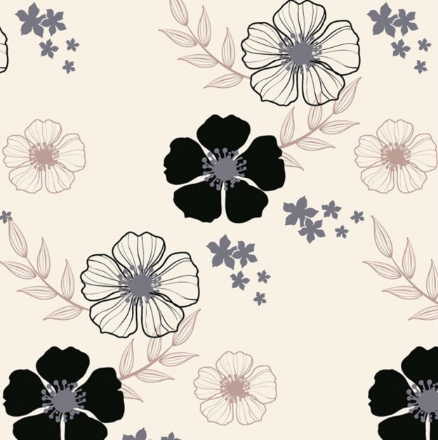 blumenmuster schwarz wei klassiker blumen download der kostenlosen vektor. Black Bedroom Furniture Sets. Home Design Ideas