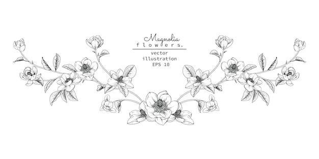 Blumenmusterelement für kopfzeile Premium Vektoren