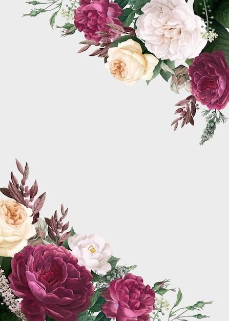 Blumenmusterhochzeits-einladungsmodell Kostenlosen Vektoren