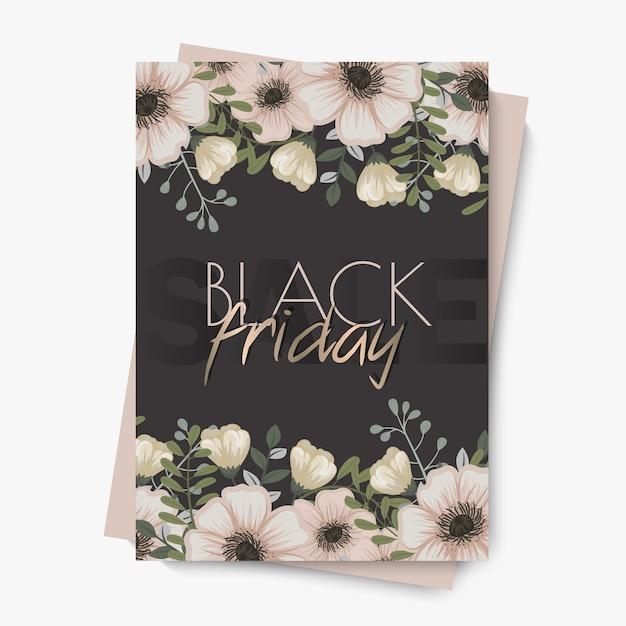 Blumenmusterschablone für schwarzen freitagsverkauf Kostenlosen Vektoren