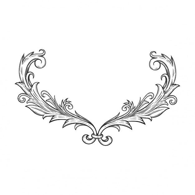Blumenornament barock für rahmen und ecke. Premium Vektoren