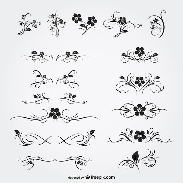 Blumenornamente freie grafiken Kostenlosen Vektoren
