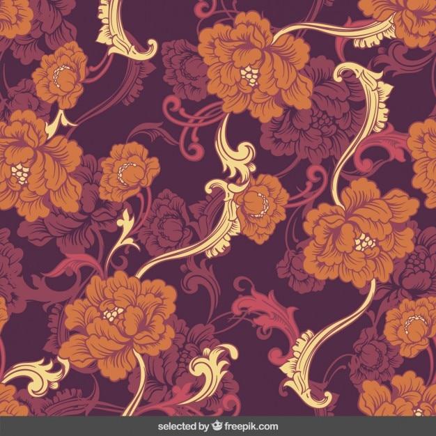 Blumenornamente hintergrund im retro-stil Kostenlosen Vektoren
