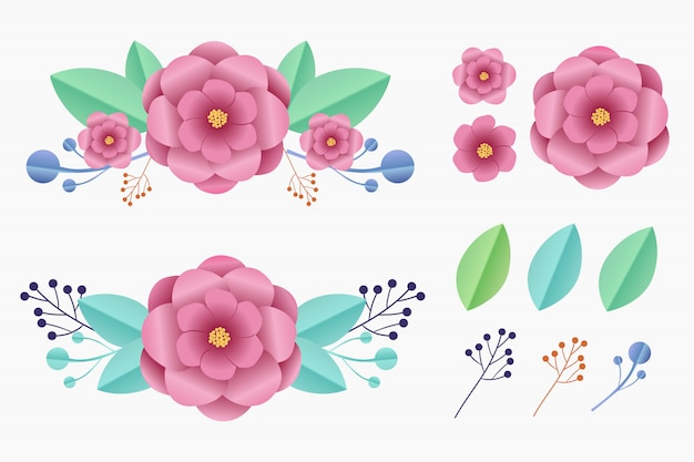 Blumenpapier-kunstelementsammlung eingestellt für verzierung. Premium Vektoren