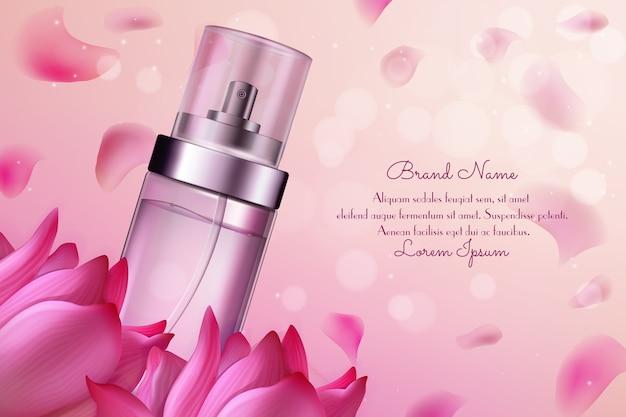 Blumenparfümkosmetikillustration. Premium Vektoren
