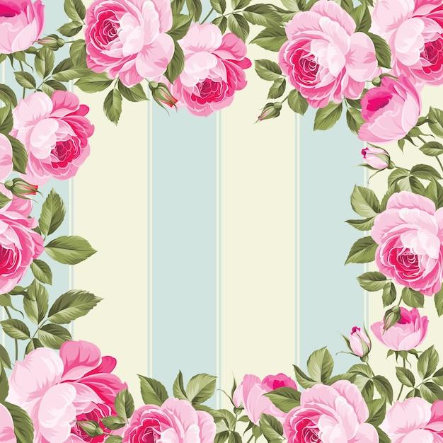 Blumenrahmen auf linien blau und beige Premium Vektoren