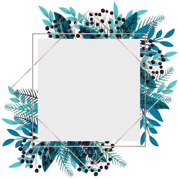 Blumenrahmen - blaue blätter und beeren Kostenlosen Vektoren