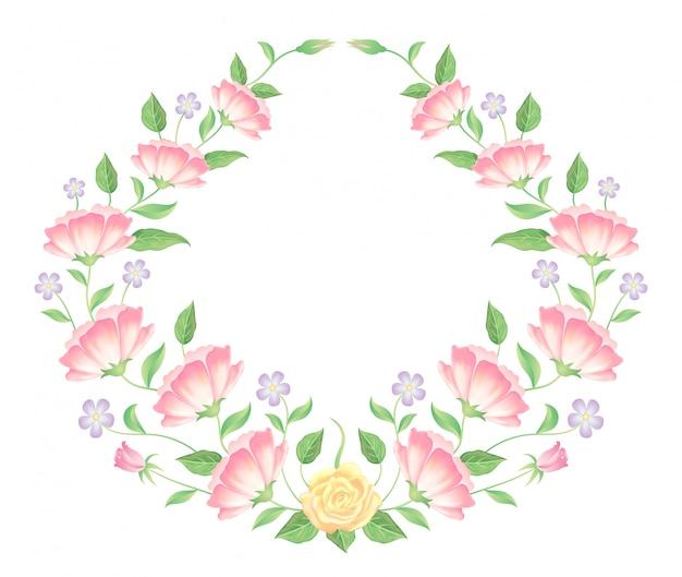 Blumenrahmen bunte und schöne rosafarbene blumen- und blattschablonendekoration. Premium Vektoren