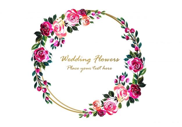 Blumenrahmen der schönen bunten dekorativen hochzeit Kostenlosen Vektoren