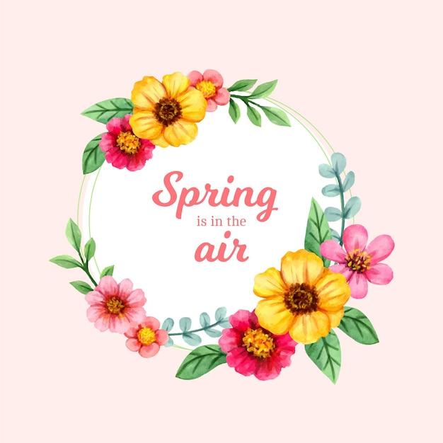 Blumenrahmen des aquarellfrühlings Kostenlosen Vektoren