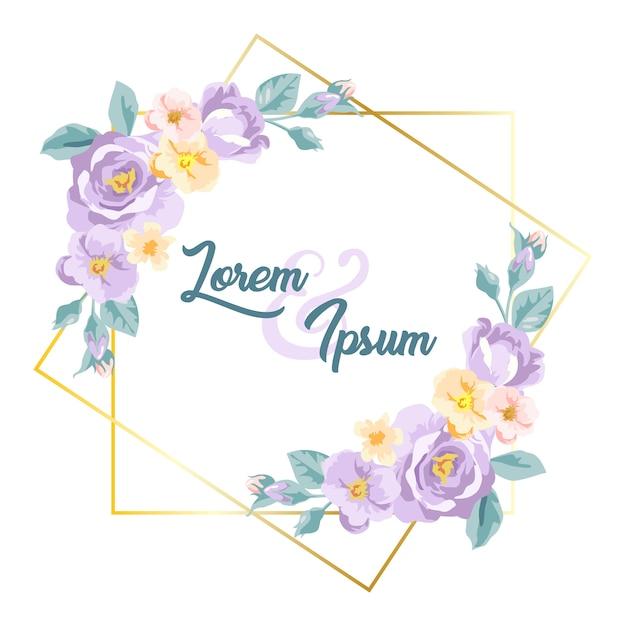 Blumenrahmen des purpurroten aquarells für dekoration Premium Vektoren