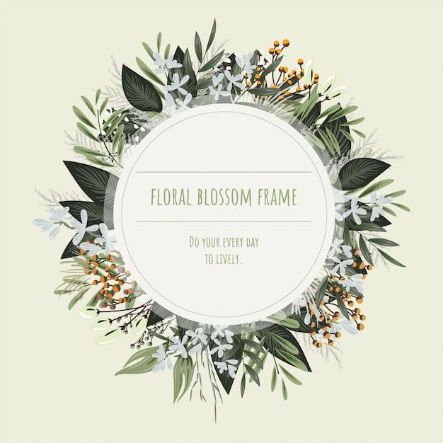 Blumenrahmen für einladungskarten und grafiken. Premium Vektoren