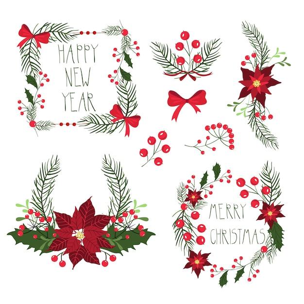 Blumenrahmen für weihnachtsferienkarten mit blumen und beeren. illustration, lokalisiert auf weißem hintergrund. Premium Vektoren