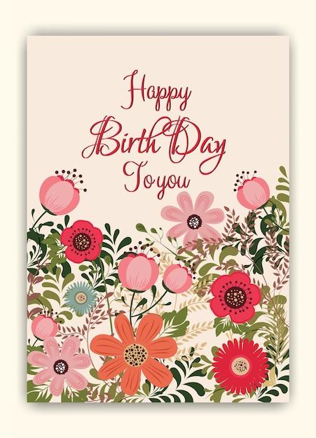 Blumenrahmen Geburtstagseinladung | Download der Premium Vektor