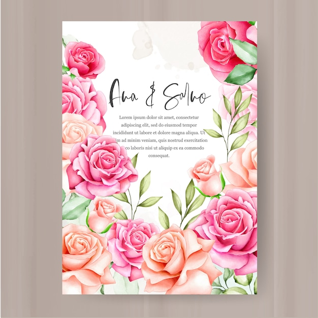 Blumenrahmen hochzeit einladungsvorlage Premium Vektoren