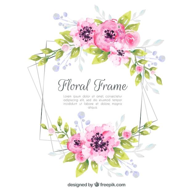 Blumenrahmen in der aquarellart Kostenlosen Vektoren
