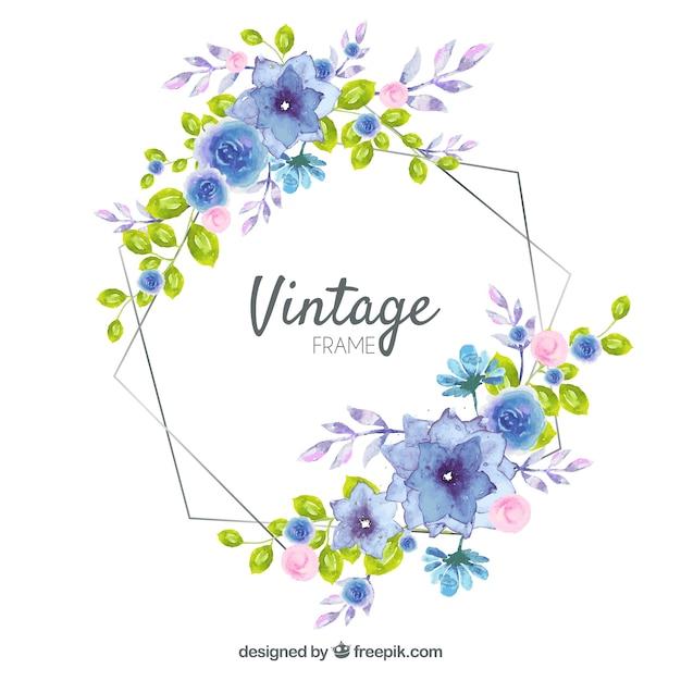 Blumenrahmen mit aquarell gemacht Kostenlosen Vektoren