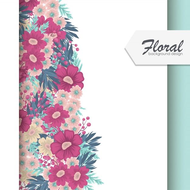 Blumenrahmen mit buntem blumenhintergrund Kostenlosen Vektoren